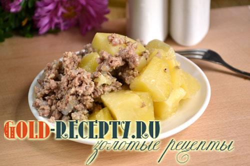 рецепт картошки с фаршем и капустой в мультиварке