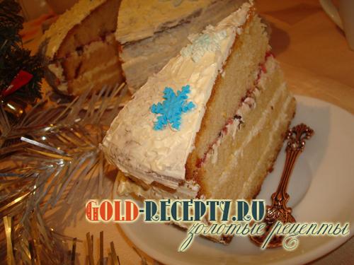 """Бисквитный торт """"Снежинка"""" с масляным кремом, рецепт торта на новый год"""
