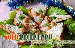 Закуска на новый год — бутерброды с творожной пастой