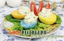 Пасхальные фаршированные яйца, как приготовить разноцветные яйца