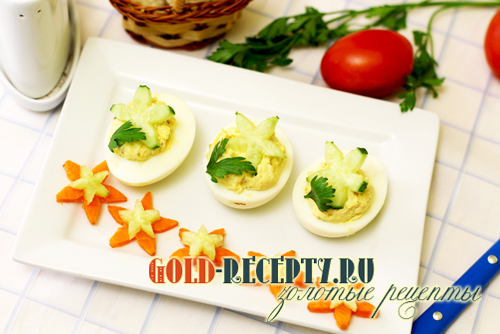 Фаршированные яйца с сыром, рецепт вкусной холодной закуски