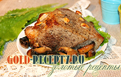 Мясо запечное в духовке целиком с грибами