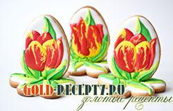 """Пасхальное печенье """"Тюльпаны"""" с рисунком по жидкой глазури"""