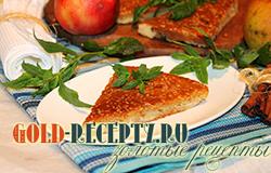 Пирог на сметане с яблоками, лимонной цедрой и кунжутом