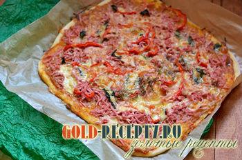 Пицца студенческая, рецепт пиццы из готового теста