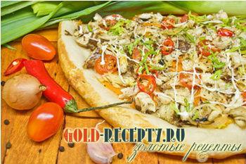 Постная пицца с рыбой и тофу