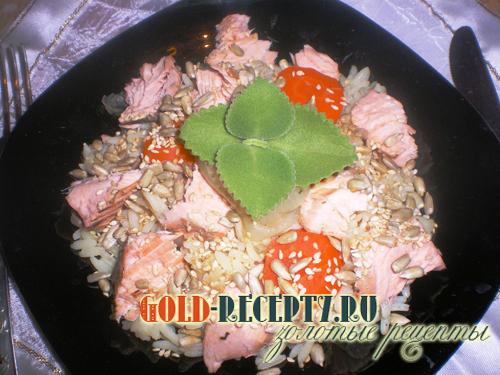 Рис с рыбой  2 блюда сразу в мультиварке