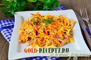 Салат из сердца с морковью и луком