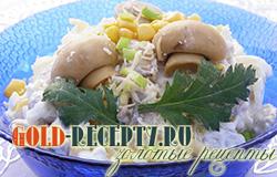 Салат с маринованными грибами, салат с грибами и сыром