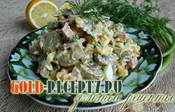 Салат с шампиньонами и копченой колбасой простой рецепт с фото