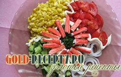 Салат из кукурузы «Волшебный цветок» рецепт