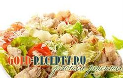 Салат цезарь с курицей, классический простой рецепт