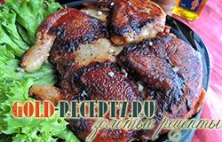 Цыпленок табака в маринаде из помидоров  и базилика
