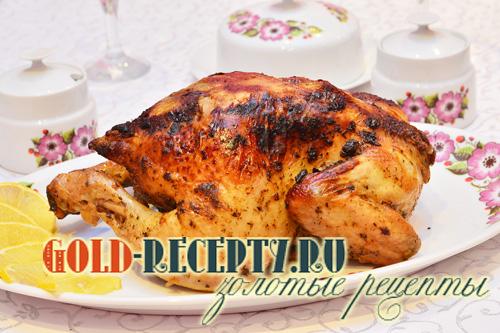 Запеченная курица в рукаве, фаршированная гречей