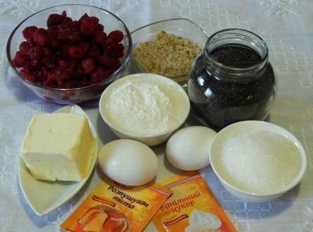 Keks s jagodami makom i orexami