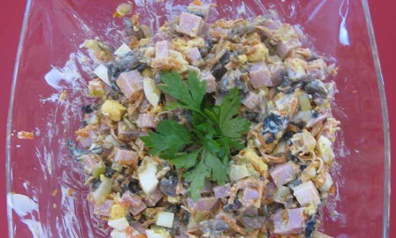 Салат с шампиньонами — фото рецепт