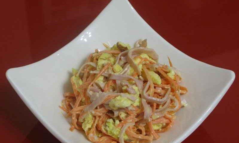 Салатик с ветчиной и морковкой по-корейски