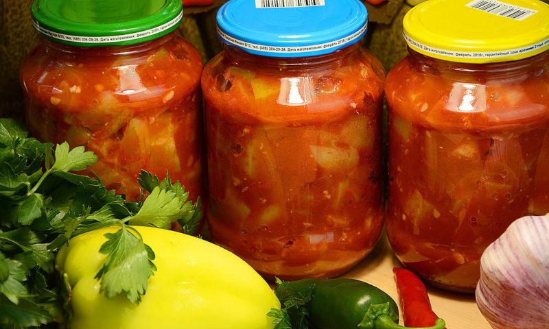 Салат из помидоров, кабачков и сладкого перца